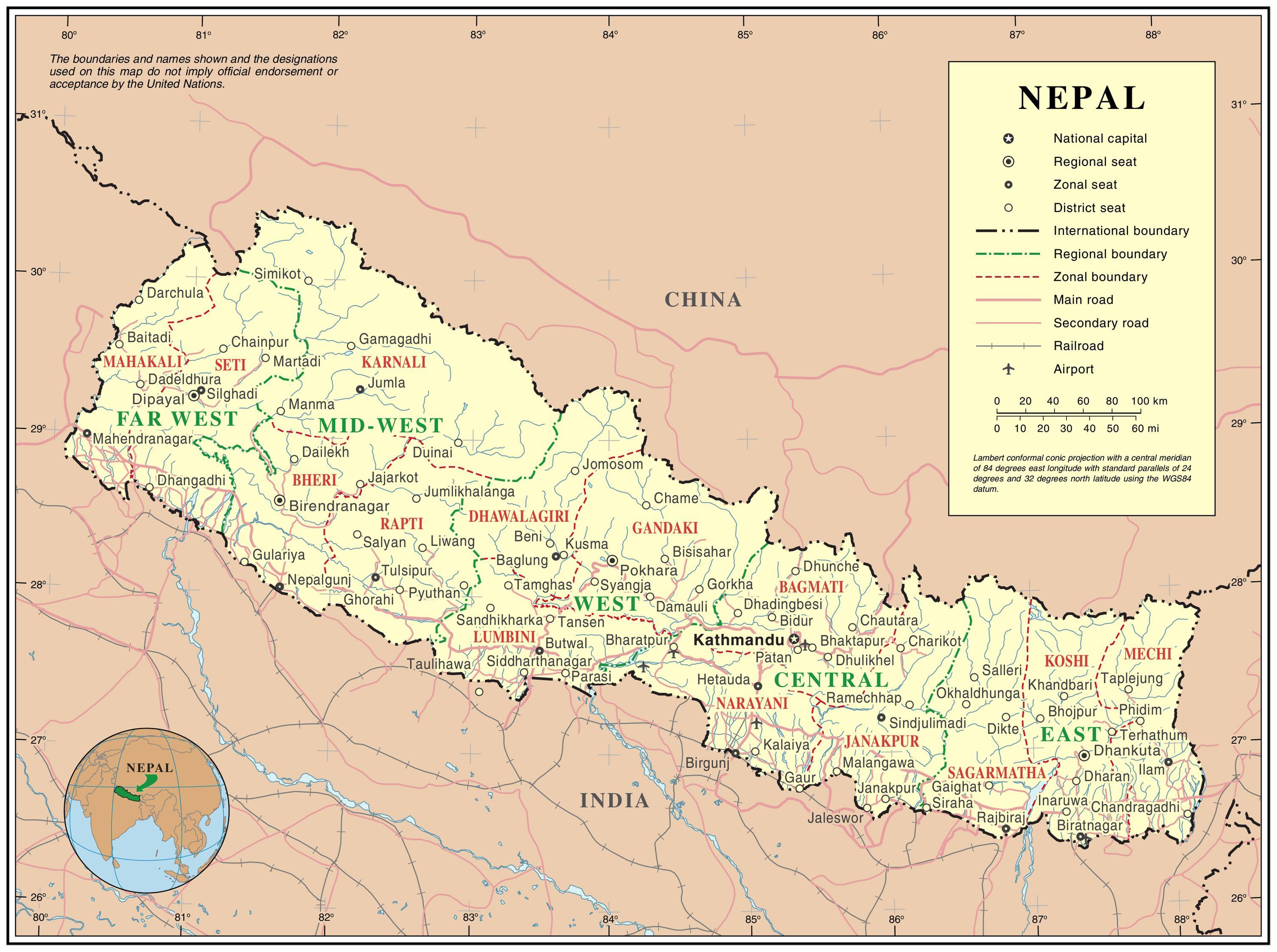 Nakvaemar Kort Af Nepal A Netinu Kort Af Nepal Sudur Asiu Asiu