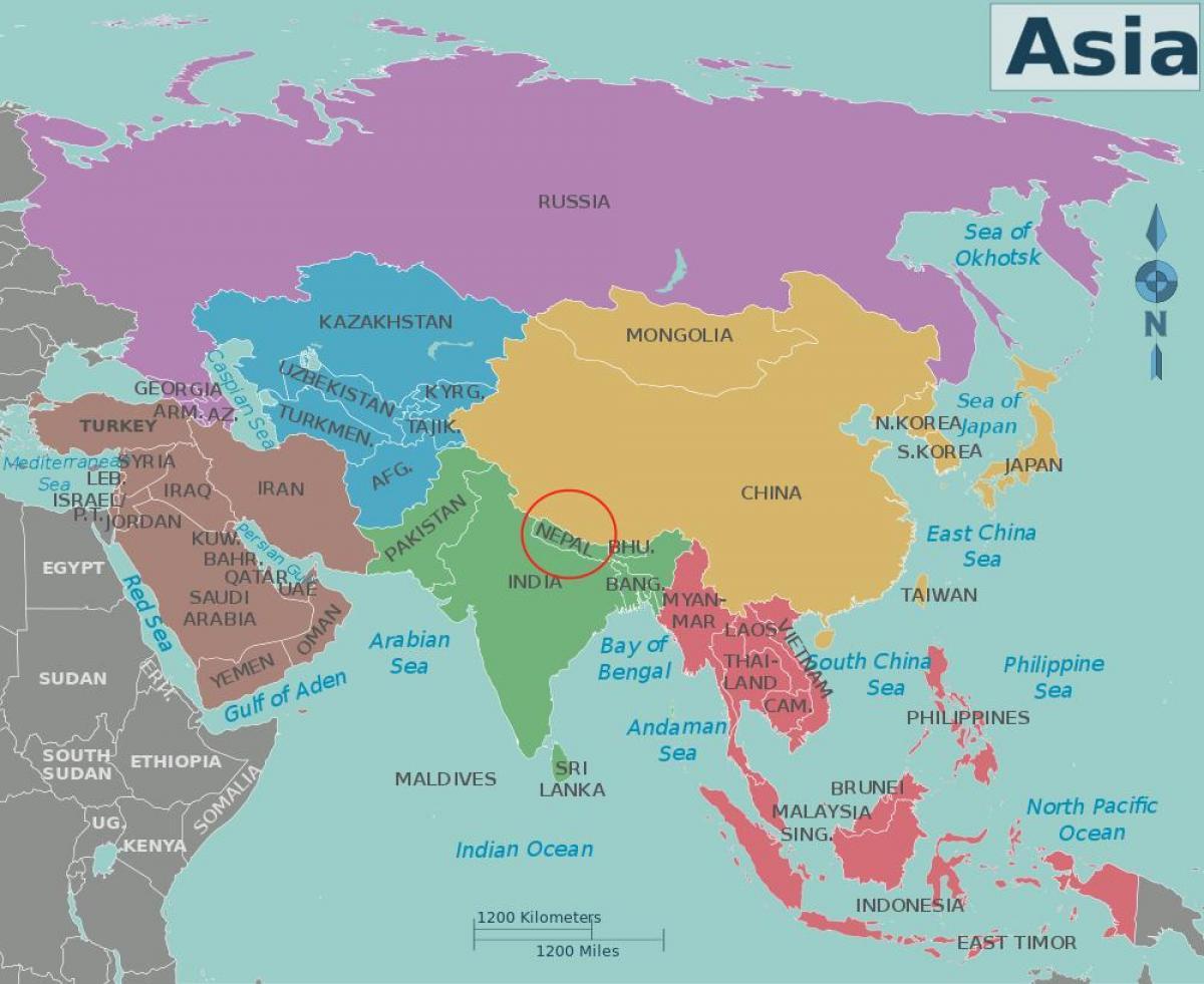 Nepal Landi Kort Kort Af Nepal Og Naerliggjandi Londum Sudur